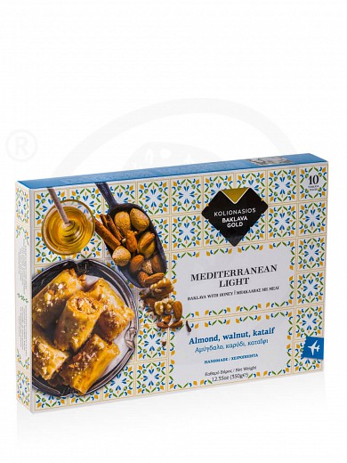 "«Baklava Mediterranean Light» walnut 10pcs box from Ioannina ""Kolionasios"" 12.3oz"