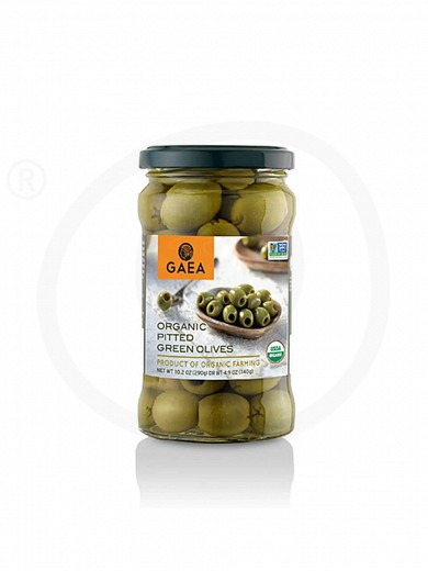 "Organic pitted green olives in brine from Chalkidiki ""Gaea"" 10.2oz"