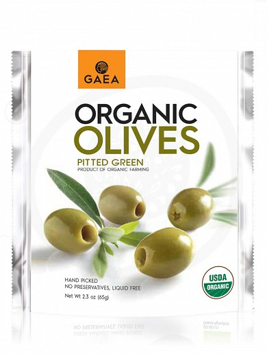 "Organic pitted green olives from Chalkidiki ""Gaea"" 2.3oz"