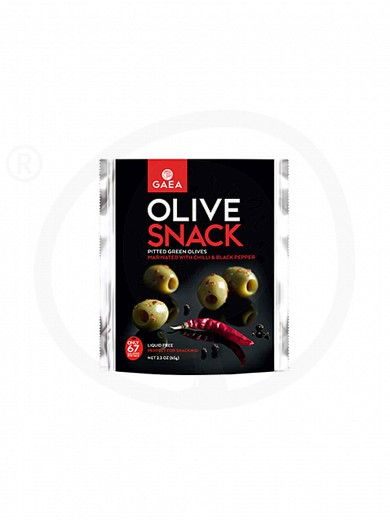 "Pitted green olives with chilli & black pepper, from Chalkidiki ""Gaea"" 2.3oz"