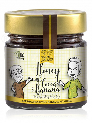 "Gluten & sugar-free honey spread with cacao & banana, from Evia «The Bee Bros» ""Stayia Farm"" 10.6oz"
