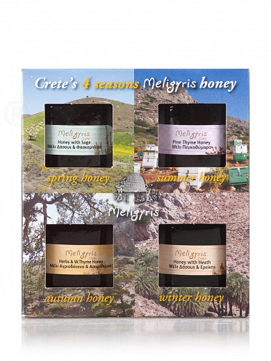 "Honey gift set «4 Seasons» from Crete ""Meligyris"" 4x4.2oz"