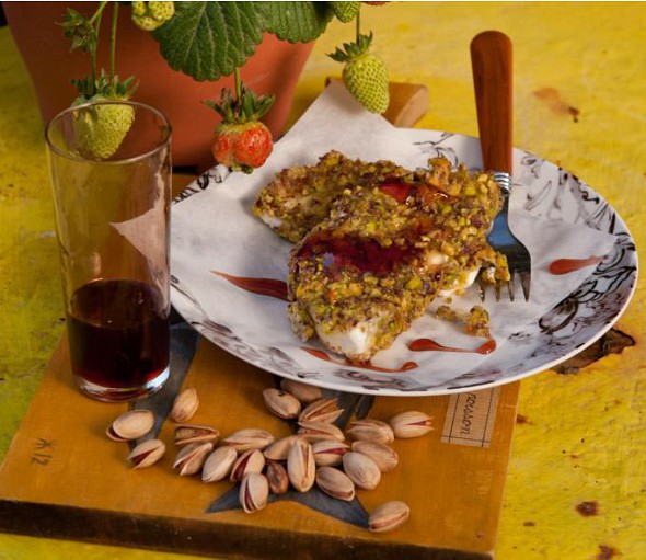 Breaded kalathaki from Lemnos with Aegina pistachios and sour cherry juice