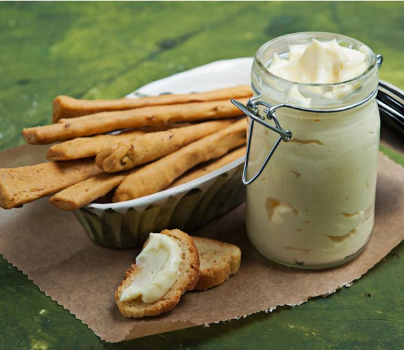 Homemade mayonnaise with olive oil and herbs