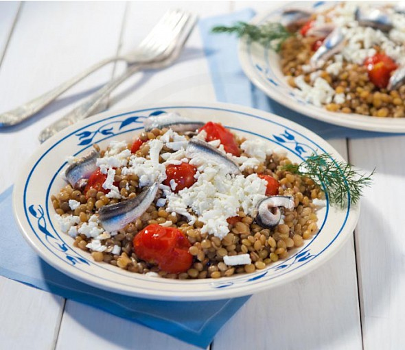 Lentil salad with Santorini cherry tomatoes