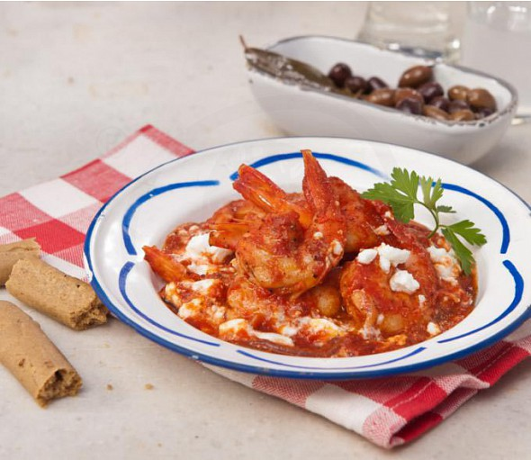 Prawn saganaki with ouzo