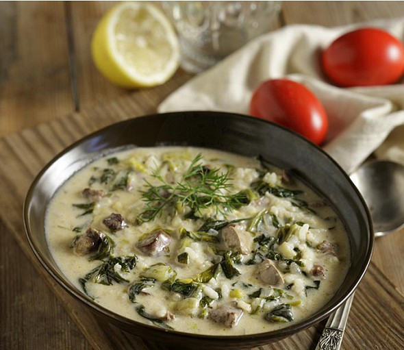 Traditional Mageiritsa (Greek Easter tripe and herbs soup)