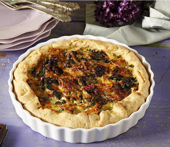 White cheese and herb tart