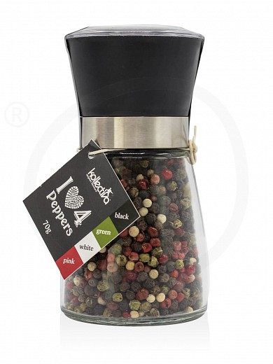 """4 Peppers in grinder from Attica """"Kollectiva"""" 70g"""
