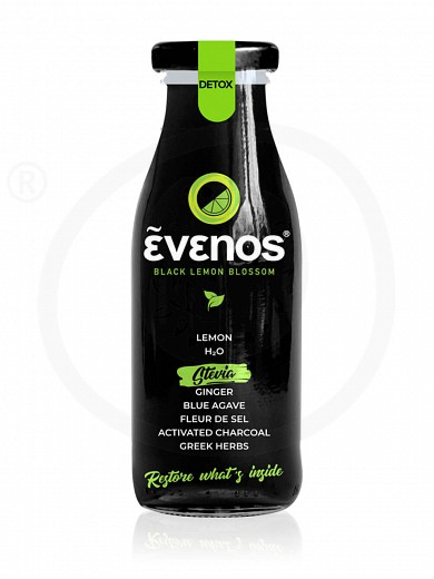 "Bio black lemonade with activated charcoal, blue agave, ginger, herbs & stevia ""Evenos"" 250ml"