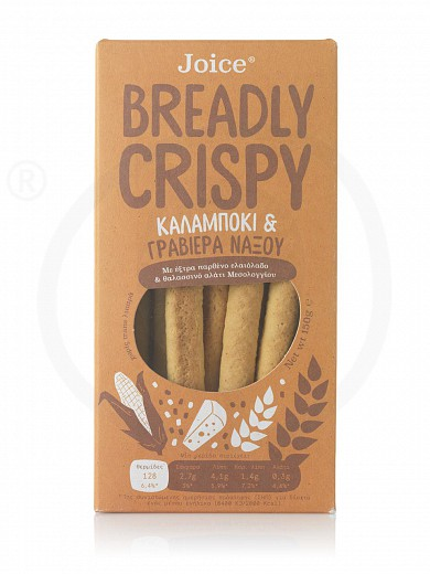 """Breadsticks with corn & Naxos graviera cheese, from Thessaloniki «Breadly Crispy» """"Joice Foods"""" 150g"""