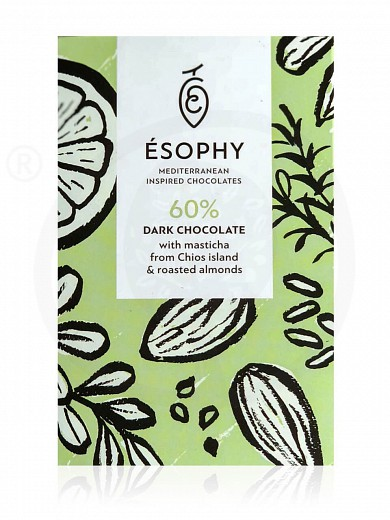 """Dark chocolate with masticha from Chios island & roasted almonds """"Ésophy"""" 50g"""