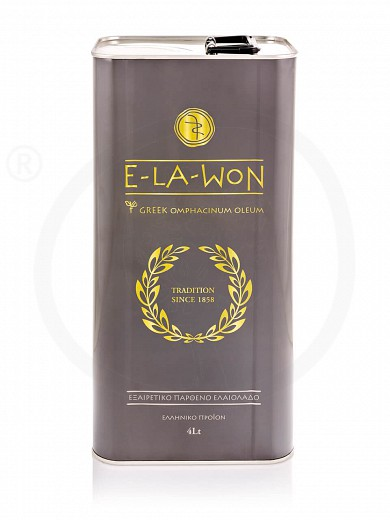 """Extra virgin olive oil «Traditional» from Attica """"Elawon"""" Tin 4L"""