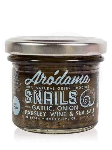 "Farmed snails in extra virgin olive oil, with garlic, parsley, onion, wine & sea salt from Crete ""Arodama"" 100g"