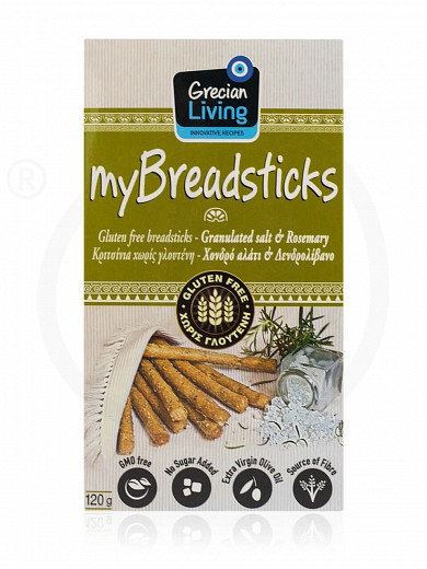 "Gluten-free breadsticks with coarse salt & rosemary, from Attica ""Grecian Living"" 120g"