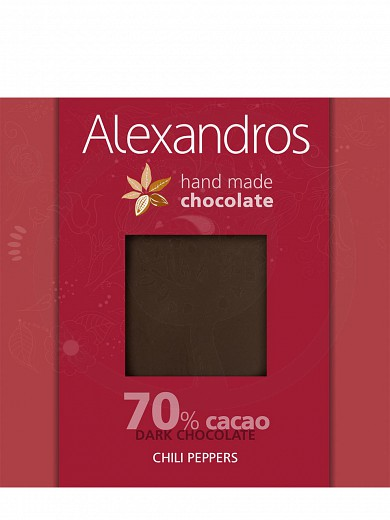 "Handmade dark chocolate with chili pepers from Attica ""Alexandros"" 90g"