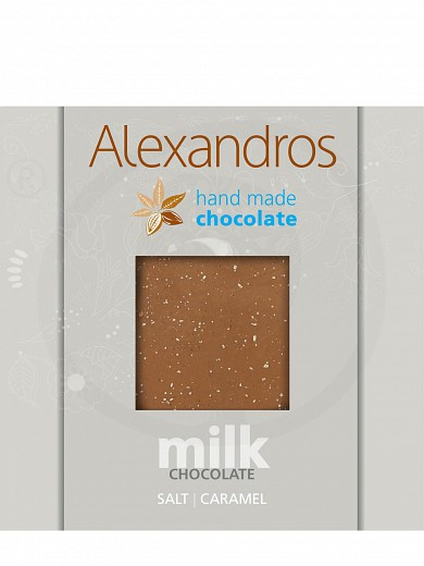 "Handmade milk chocolate with crispy caramel & salt from the Himalayas, from Attica ""Alexandros"" 90g"