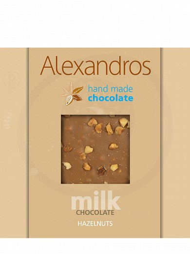 "Handmade milk chocolate with hazelnuts from Attica ""Alexandros"" 90g"