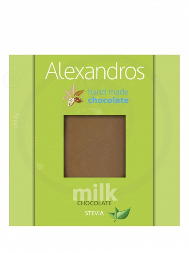 "Handmade milk chocolate with stevia, from Attica ""Alexandros"" 90g"