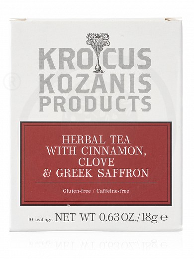"Herbal tea with cinnamon, clove & Greek Saffron, from Kozani ""Krocus Kozanis Products"" 18g"