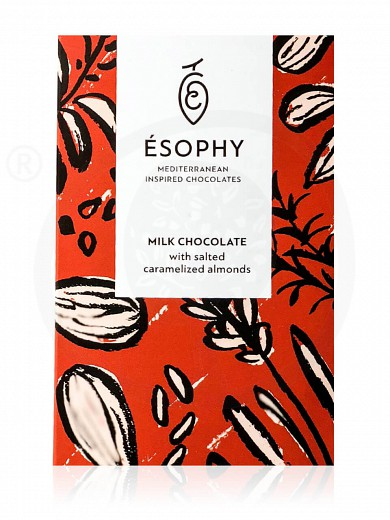 """Milk chocolate with salted caramelized almonds """"Ésophy"""" 50g"""