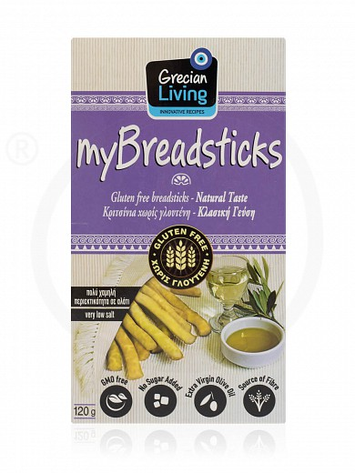 "Natural gluten-free breadsticks from Attica ""Grecian Living"" 120g"