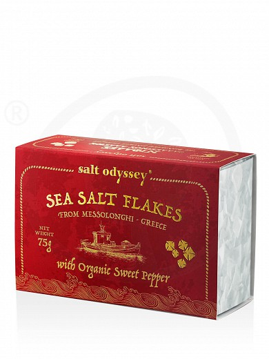 "Natural sea salt flakes with organic sweet red pepper, from Mesologgi ""Salt Odyssey"" 75g"