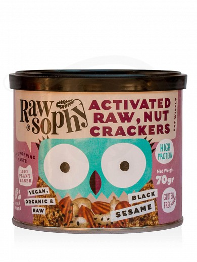 "Organic activated raw, nut crackers with black sesame, from Attica ""Rawsophy"" 70g"