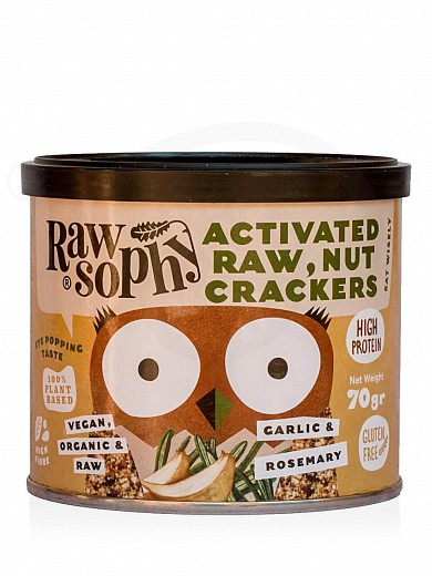 "Organic activated raw, nut crackers with garlic & rosemary, from Attica ""Rawsophy"" 70g"
