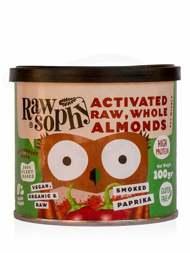 "Organic activated raw, whole almonds «Smoked Paprika» from Attica ""Rawsophy"" 100g"