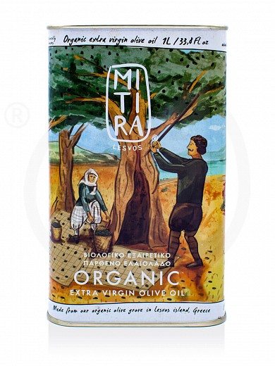 "Organic extra virgin olive oil «Mitira Lesvos», from Lesvos ""Rizopoulos"" Tin 1L"
