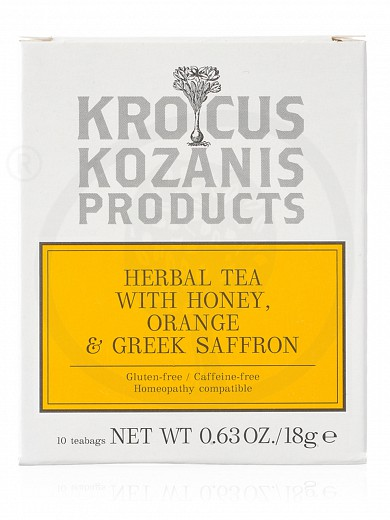 "Herbal tea with honey, orange & Greek saffron  from Kozani ""Krocus Kozanis Products"" 18g"