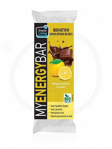 "Organic oat bar with dark chocolate & lemon ""Grecian Living"" 40g"