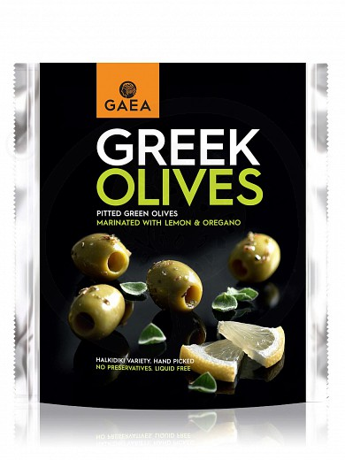 "Pitted green olives marinated with lemon & oregano from Chalkidiki ""Gaea"" 150g"