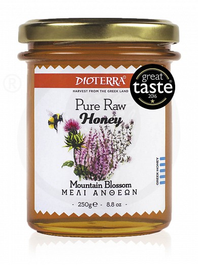"Pure raw honey «Mountain Blossom», from Achaia ""Dioterra"" 250g"