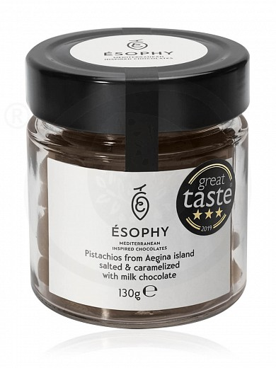 "Salted & caramelized pistachios from Aegina island with milk chocolate ""Ésophy"" 130g"