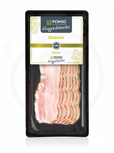 "Sliced smoked bacon from Larissa ""Romio Evaggelopoulos"" 100g"