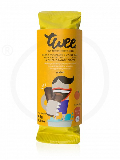 "Snack bar with dark chocolate, biscuit & orange «Twee» from Serres ""Parfait"" 45g"