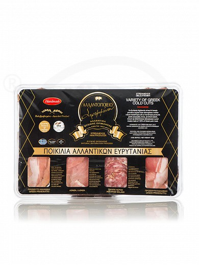 """Various cold-cuts in slicesfrom Euritania """"Stremmenos Delicatessen"""" 120g"""