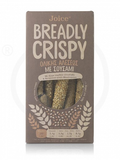 "Wholegrain breadsticks with sesame, from Thessaloniki «Breadly Crispy» ""Joice Foods"" 140g"