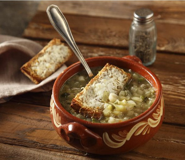 Leek soup with gruyère cheese