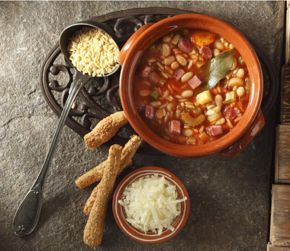 Minestrone soup with white beans, barley shaped pasta & noumpoulo