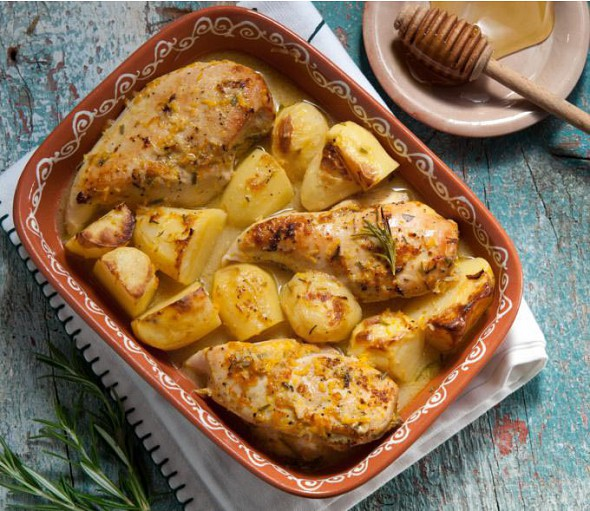 Oven roast chicken with honey and rosemary