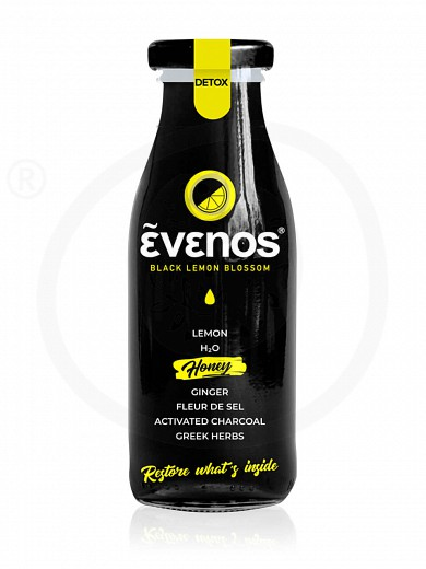 "Bio black lemonade with activated charcoal, honey & herbs ""Evenos"" 250ml"