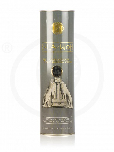 """Extra virgin olive oil «Traditional» from Attica """"Elawon"""" Tin 1L"""