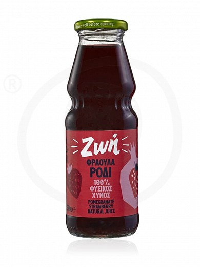 "Fresh pomegranate juice with strawberry, from Thessaloniki ""Zoi"" 250ml"