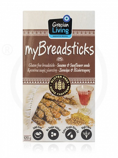 "Gluten-Free breadsticks with sesame & sunflower seeds, from Attica ""Grecian Living"" 120g"