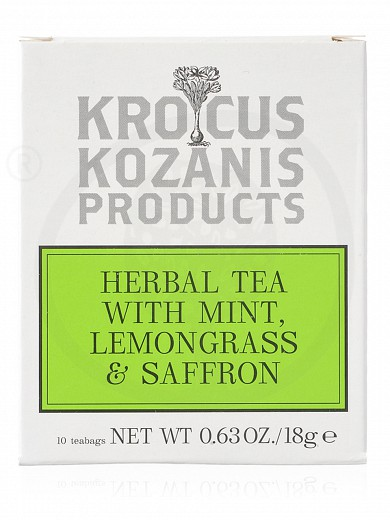 "Organic herbal tea with mint, lemongrass & Greek Saffron, from Kozani ""Krocus Kozanis Products"" 18g"