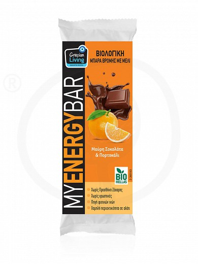 "Organic oat bar with dark chocolate & orange ""Grecian Living"" 40g"