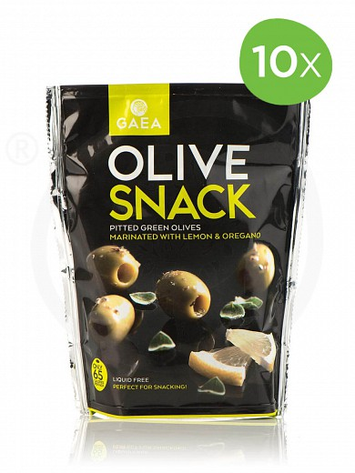"""10 pieces of pitted green olives with lemon & oregano from Chalkidiki """"Gaea"""" 65g"""
